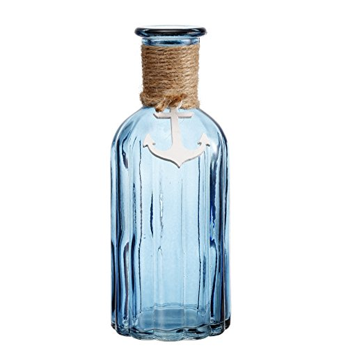 V-More Ocean Blue Flower Bud Vase with Jute Rope and Anchor Glass Bottle with Ribbed Design 7.5-inch Tall for Home Decor Wedding Party and Celebration (Set of 2)