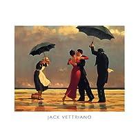 The Singing Butler Jack Vettriano Umbrella Love Dancing Beach Rain, Overall Size: 19.75x15.75, Image Size: 18.5x13.5