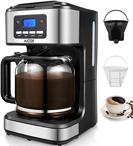 Aicok Coffee Maker, 12-Cup Programmable Drip Coffee Brewer with glass carafe, Stainless Steel Filter Coffee Machine, Anti-Drip System, Keep Warm