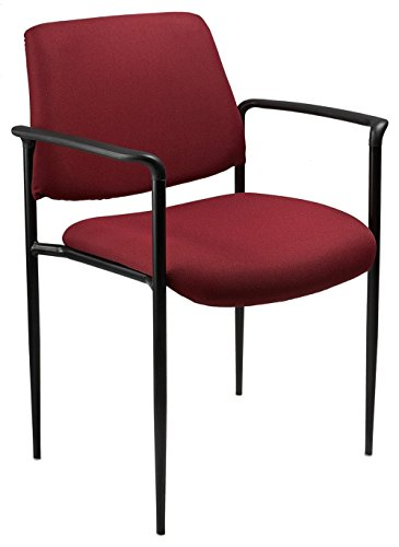 Boss Office Products B9503-BY Square Back Fabric Dimond Stacking Chair with Arms in Burgundy