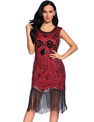 Flapper Girl 1920s Vintage Embellished Sequined Art Nouveau Deco Fringe Flapper Dress (S, Red) (Flapper Girls Dresses)