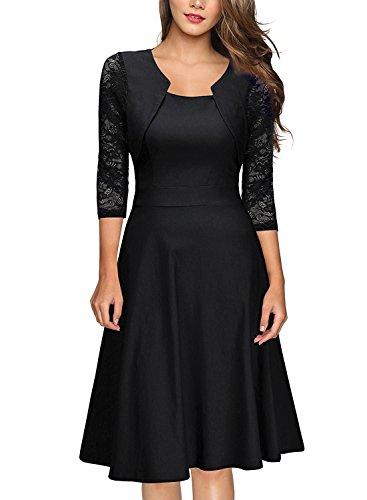 Mujer Vestido de Fiesta Encaje con 3/4 Marga Vestido Largo de Ceremonia Boda Negro