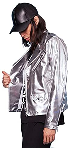 24HRS by Lip Service Techno Rave Space Silver Holo Tint Metallic Jacket (S) (Mens Metallic Silver Jacket)