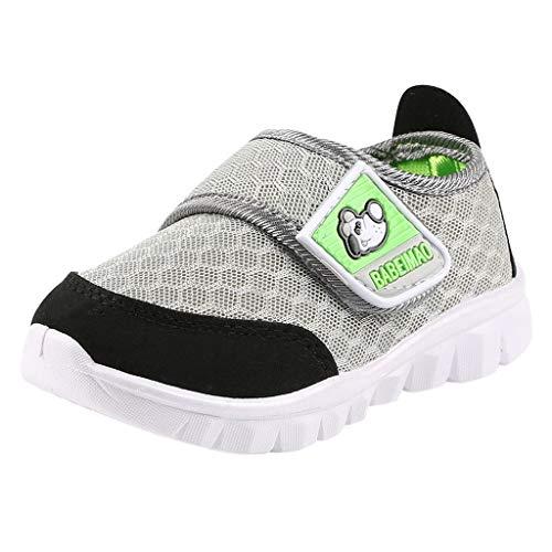 SUNyongsh Baby Sneakers Toddler Infant Shoes Kids Baby Girls Boys Cartoon Mesh Run Sport Casual Shoes Gray ()