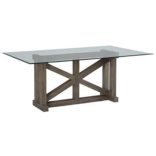 Jofran Hampton Sandblasted Trestle Dining Table with Glass Top, Black