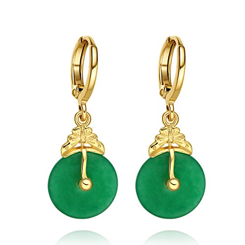 Unique Very Cute Upside Down Butterfly Charms and Green Simulated Jade Donuts Amulet Gold-Tone (Green Jade Crystal Earring)
