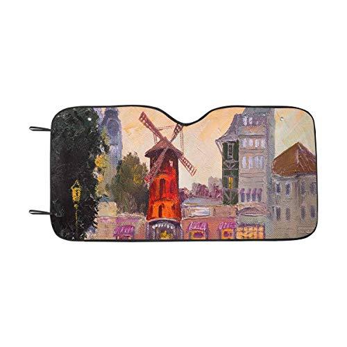 (INTERESTPRINT Oil Painting Cityscape Moulin Rouge Car Sun Shade Windshield Sunshades Universal Fit, Block Sun UV and Heat)