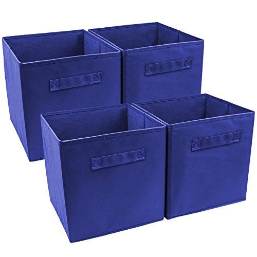 Sorbus Foldable Storage Cube Basket Bin (4 Pack, Royal Blue)