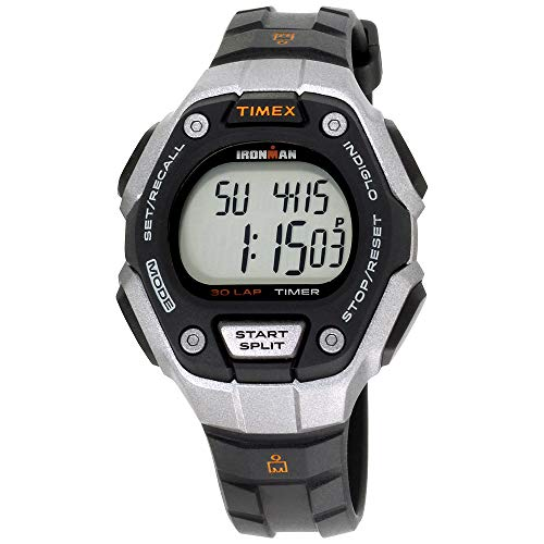 Basic Chronograph Watch - Timex Women's Ironman 30-Lap Digital Quartz Mid-Size Watch, Black/Silver-Tone/Orange - TW5K89200