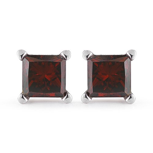 PARIKHS Princess cut Red Diamond Stud AAA Quality in White Gold (0.10ct) ()