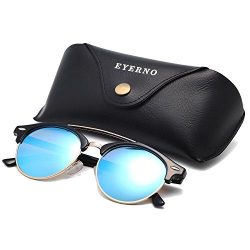 Eyerno Retro Polarized Sunglasses For Men Women Semi Rimless Brand Designer - Sunglasses Bridge