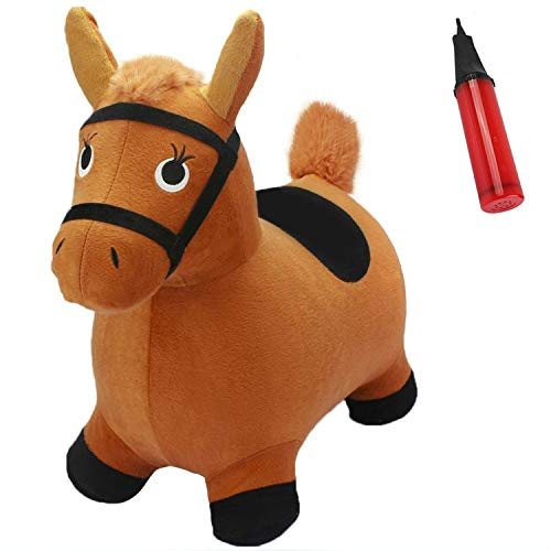 iPlay, iLearn Brown Hopping Horse Activity Toy, Outdoors Ride on Bouncy Animal Play Toys, Inflatable Hopper Plush Covered with Pump, Jumping Gifts for 2, 3, 4, 5 Year Olds, Kids Toddlers Boys Girls