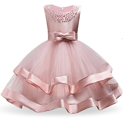 Kids Clothing Elegant Hand Beading Girls Dresses for Children Princess Party Costumes 3-10 Years,Pink,ZT ()