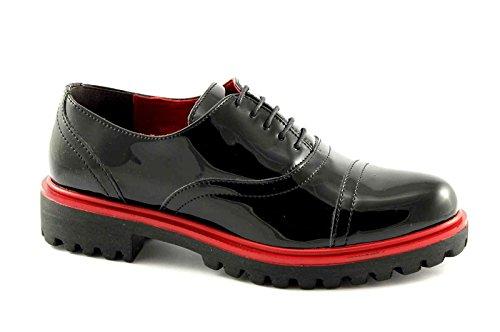 Pregunta 84204-VS Chaussures Noires Femme Brogues peignent Pointe Nero Zkgo7dTrr