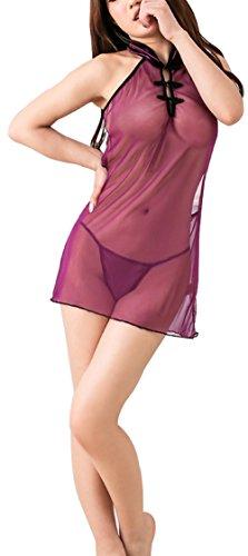 Paplan Mujer Pijamas de la ropa interior de la gasa púrpura Cheongsam cabestro sin respaldo de la ropa interior Morado