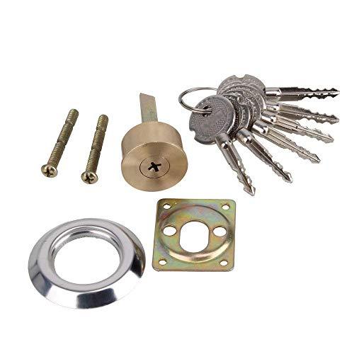 - 30mm Dia Brass Replacement Mortise Rim Cylinder Door Night Latch Lock Cross Shaped Nightlatch with 6 Keys