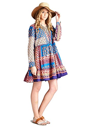 Boho-Chic Vacation & Fall Looks - Standard & Plus Size Styless - Velzera Beaded Patchwork Print Tierred Tunic Dress Boho Chic Plus Size (Blue / Purple)