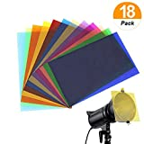 18 Pack Correction Gel Light Filter Transparent Color Lighting Overlays Film Plastic Sheets, 8.5 * 11 Inches, 9 Colors