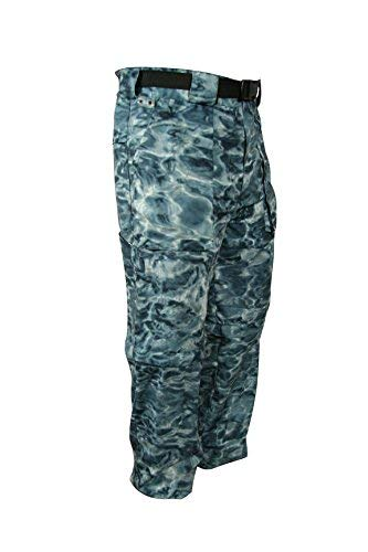 Aqua Design: Fly Fishing Mens Convertible Wading Pants Zip Off Legs Shorts: Misty Sky: Size Large