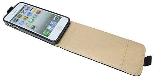 Handytasche Flip Style für IPHONE 5 / 5S in Schwarz Klapptasche Hülle @ Energmix