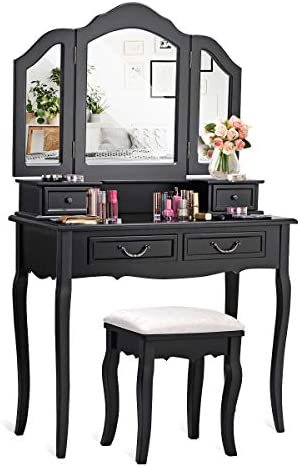 CHARMAID Vanity Set with Tri-Folding Mirror and 4 Drawers, Makeup Dressing Table with Cushioned Stool, Makeup Vanity Set for Women Girls Bedroom, Makeup Table and Stool Set Black