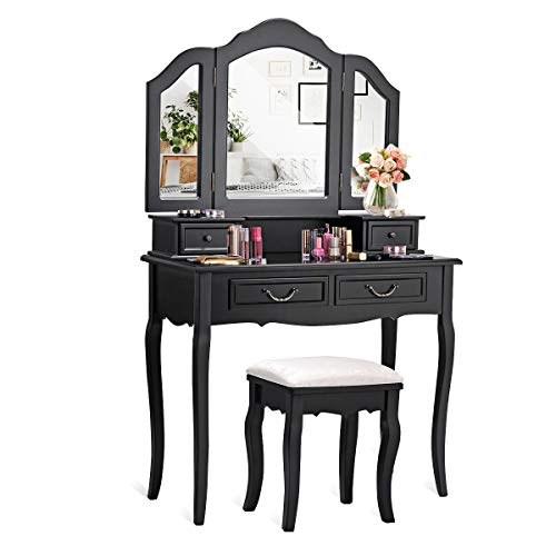 CHARMAID Vanity Set with Tri-Folding Mirror and 4 Drawers, Makeup Dressing Table with Cushioned Stool, Makeup Vanity Set for Women Girls Bedroom, Makeup Table and Stool Set (Black) -