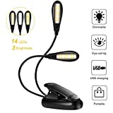Reading Light, 14 LED USB Rechargeable and Eye-care Book Light, Flexible Clip Reading Lamp in Bed and Portable Travel Book Light, Music Stand Light Night Lights for Kids (Warm White & White in 1)