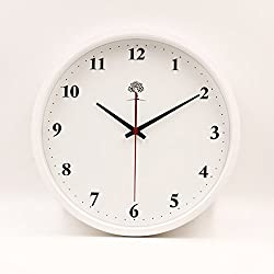 Hippih Silent Wall Clock Wood Non Ticking Digital Quiet Sweep 10-Inches Home Decor Vintage Wooden Clocks,White Number