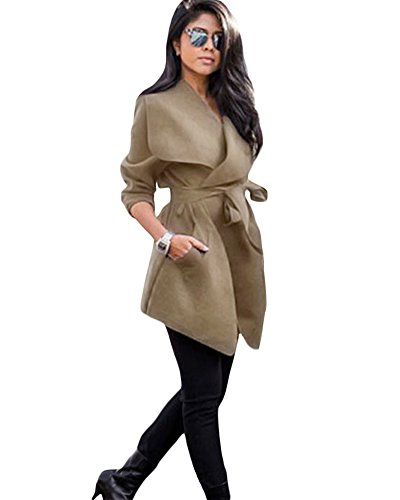 Romacci Womens Winter Lapel Long Sleeve Jacket Long Trench Coat Pocket Outwear With (Pocket Trench)