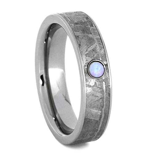 Opal Cabochon, Gibeon Meteorite 5mm Comfort-Fit Titanium Wedding Band, Size 11.5 by The Men's Jewelry Store (Unisex Jewelry)