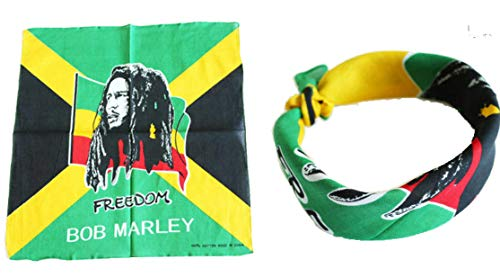 (BUNFIREs 1pcs Bob Marley Bandana Head Wrap Rastafari Yardie Rasta Irie Reggae Dread One Love)