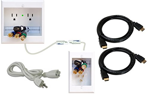 PowerBridge TWO-CK-H2 Dual Outlet Recessed In-Wall Cable Management System and Two 10-Foot High-Speed HDMI Cables (Latest Standard) Bundle