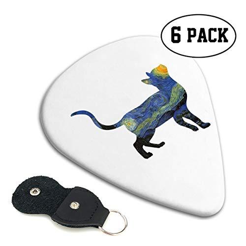 Irene Merritt Guitar Picks- Bengal Cat Van Gogh The Starry Night Guitar Picks With Leather Cases Bag £¨6 Pack£