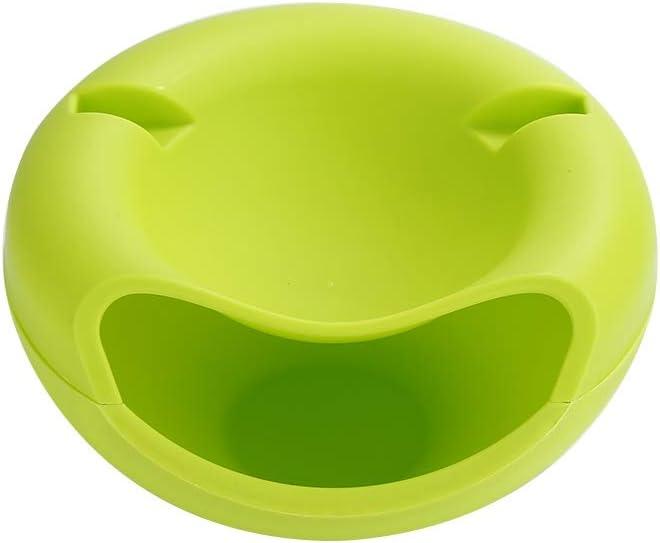 QWERTB Capa Creativa Cuenco Doble de plástico Joyas Caja de Almacenamiento de Basura Organizador de teléfono del Plato del sostenedor de Snacks de Fruta Seca Semillas Contenedores (Color : 1)