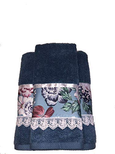 2 Piece Towel Set RMG Customized Blue Bath Towels with Floral Print Fabric Application 1 Large Bath Towels and 1 Washcloths.