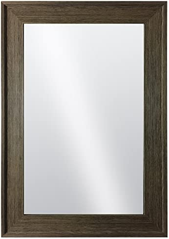 Raphael Rozen Hanging Framed Wall Mounted Mirror Classic, Elegant Rectangular, Distressed Wood Finish Brushed Olive Colored Frame Perfect for Bathrooms and Interior Living Spaces