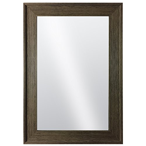 Hanging Framed Wall Mounted Mirror By Raphael Rozen: Classic, Elegant Rectangular, Distressed Wood Finish Brushed Olive Colored Frame Perfect For Bathrooms and Interior Living - Mirror Green Framed