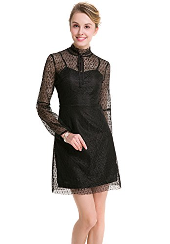 Ababalaya Frauen Elegantes Chiffon Punktmuster Hoch Taille Langarm Schlank Mini Abendkleid