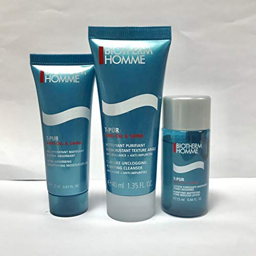 Biotherm Homme T-PUR Anti Oil & Wet Travel Set (3 Items) (Biotherm Skin Best Set)