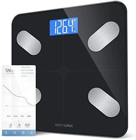 GreaterGoods Digital Body Fat Smart Scale, Secure Connected Solution for Your Data (Black)