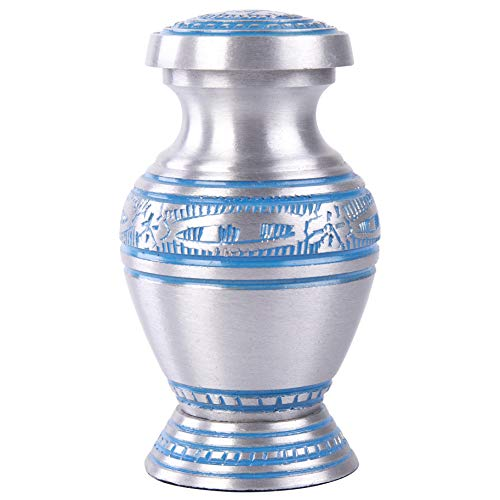 GSM Brands Keepsake Cremation Urn - Mini Funeral Memorial with in Silver Design with Box - Meant for Sharing of Token Amount of Ashes (3 Inch by 2 Inch)