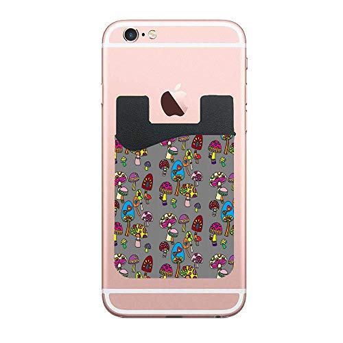 (CardlyPhCardH Funky Mushrooms Card Holder for Back of Phone -TCell Phone Wallet with Pocket for Credit Card, ID, Business Card 2 PCS)