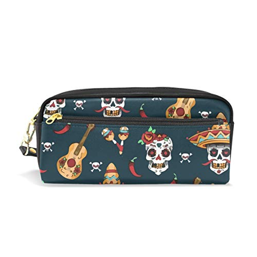 Mexican Sugar Skull Day of Dead PU Leather Cosmetic Bag Makeup Pouch Pen Pencil Case Coin Purse Travel