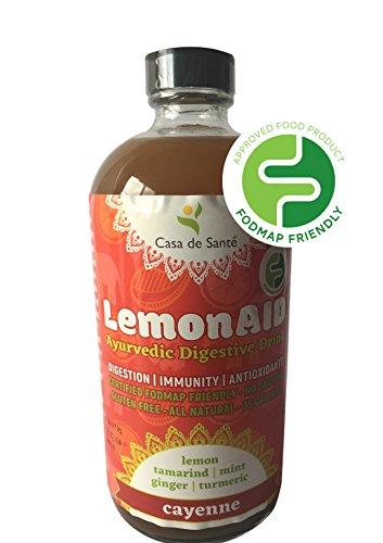 Casa de Sante Low FODMAP Certified LemonAID Ayurvedic Digestive Drink - lemon, mint, ginger, turmeric, fennel seed non alcoholic digestif, 12 pack (Cayenne, 16 fl oz) by Casa de Sante