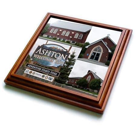 3dRose Jos Fauxtographee- Ashton Welcomes You - Ashton Welcomes you on a sign coming into Idaho - 8x8 Trivet with 6x6 ceramic tile (trv_294283_1) ()