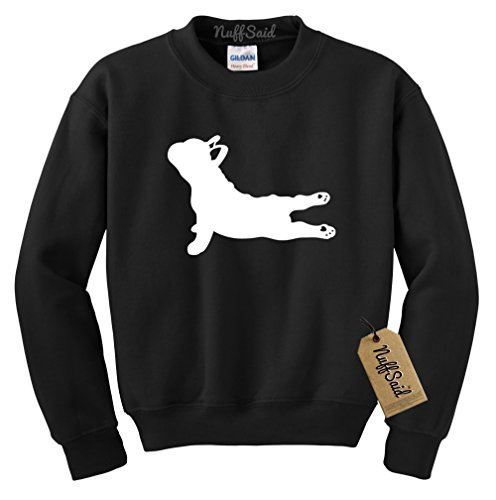 NuffSaid Yoga French Bulldog - Crewneck Sweatshirt Sweater Pullover Hoodie - Unisex- Namaste Yoga - Namastay in Bed - Yoga Dog (Large, Black)
