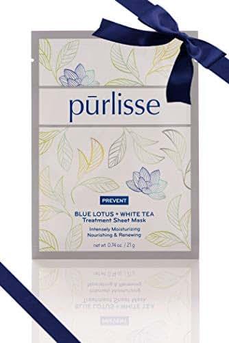 purlisse Blue Lotus and White Tea Nourishing Korean Face Sheet Mask - Reduces Redness for Sensitive & Irritated Skin, Single