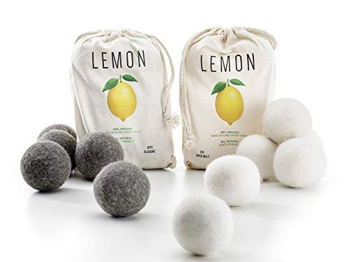 (Lemon Wool Dryer Balls, All Natural, Eco-Friendly, Reusable Laundry Essentials, 12 Pack - 6 White and 6 Gray)