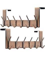 SKOLOO Over The Door Hook Hanger - 6 Hooks, Metal Door Hook, Over Door Coat Hooks for Hanging Coats Clothes Hats Robes, White