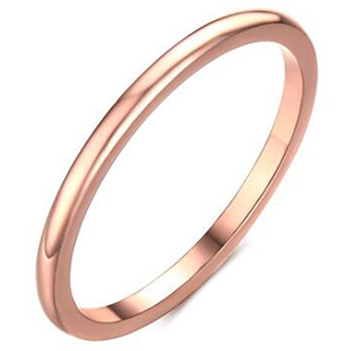 - Jude Jewelers 1.5 MM Stainless Steel Stackable Ring Wedding Band (Rose Gold, 4.5)